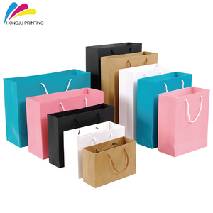 low MOQ different color birthday party gift paper bag