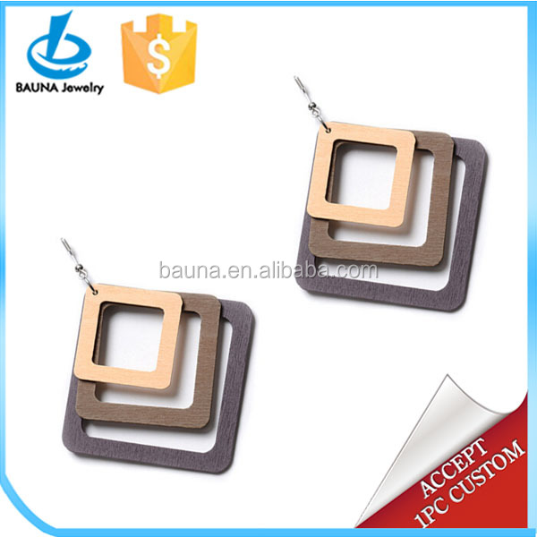Laser cut layered square wood earrings