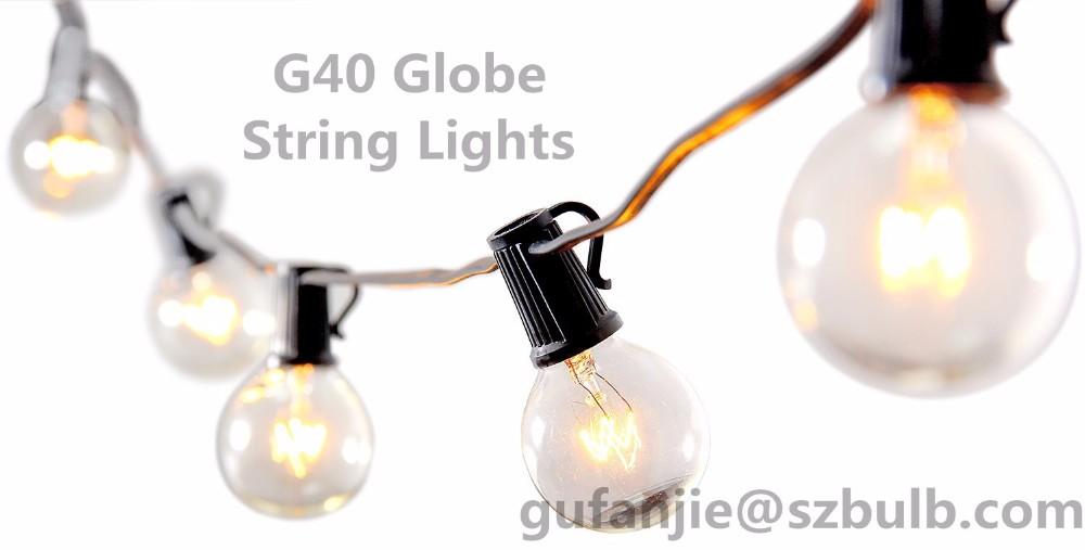 25ft Weatherproof Globe String Festoon Lights 25 Clear Bulbs G40 Indoor Outdoor
