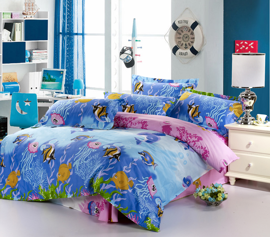 poissons couette ensembles sets3d ensemble de literie drap de lit 100 coton bleu housse de. Black Bedroom Furniture Sets. Home Design Ideas