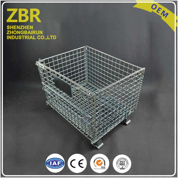 Foldable grille stackable box/galvanized folding cage