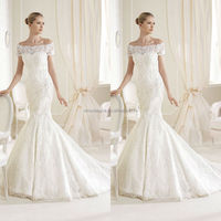 2014 Toprated Off-Shoulder Short Sleeve Lace Mermaid Wedding Dresses Vintage Garden Bridal Gown Custom Made NB0489