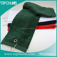 Embroidery Cotton Polyester 100% cotton fingertip tri-fold golf TOWEL