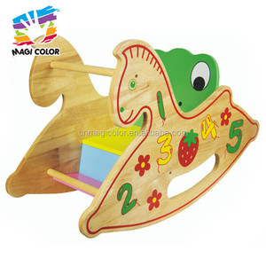 Wholesale most popular wooden kids rocking horse toy for riding on play W16D030