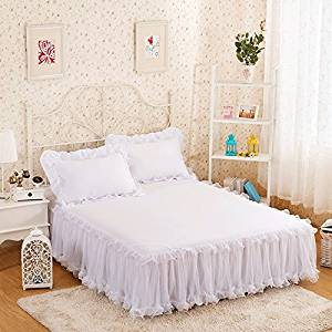 gangnumsky-3Pieces Solid Color Lace Luxury Bedding Sets Queen Bed Sets For Girl Bed Sheet Set Pillow Case Customizable-D