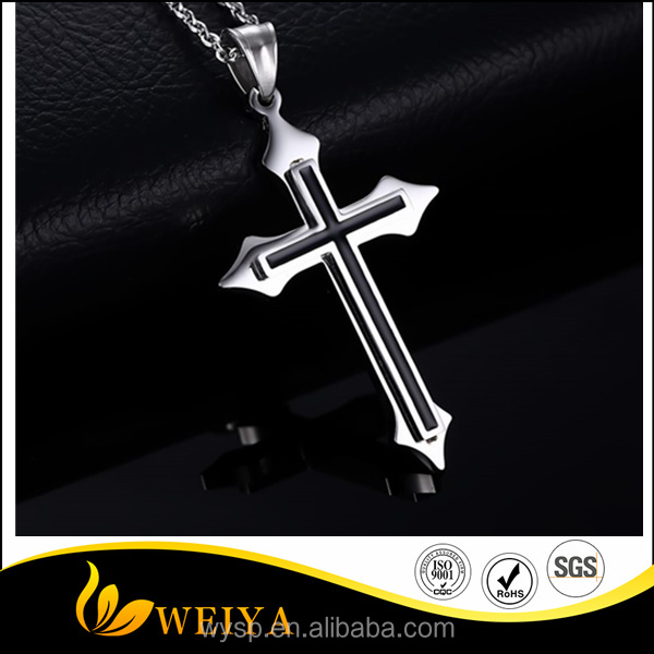 Hot Silver Stainless Steel Black Enamel Cross Pendant Necklaces Men's Daily Jewellery
