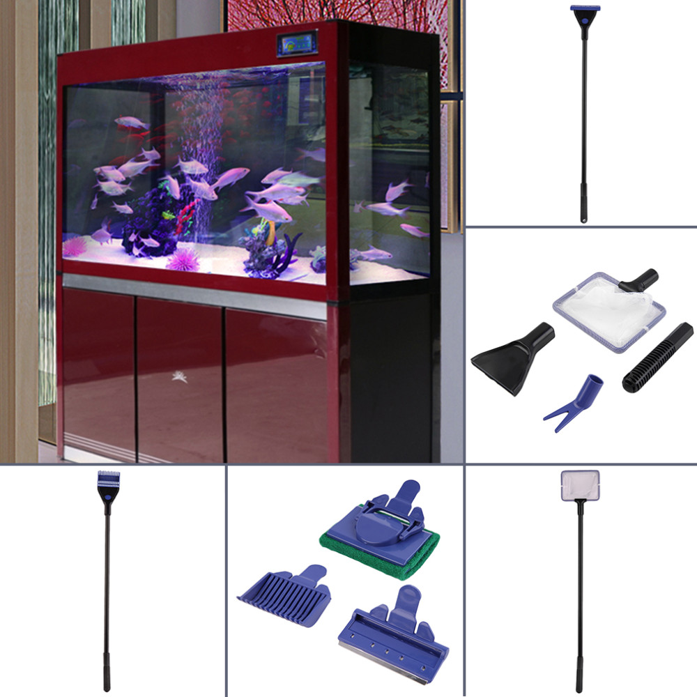 5 in 1 Aquarium Tank Clean Set Fish Net Gravel Rake Algae Scraper Fork Sponge Brush Glass Cleaning Tools Aquarium Cleaner
