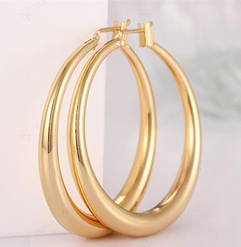 18k big gold hoop earrings rose yellow gold hoop earrings ...