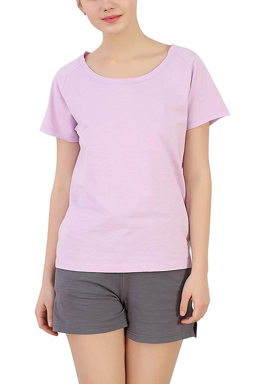 d061f70fd12 Get Quotations · Dolamen Women Pyjamas Set Short 2018 Spring Summer  Nightwear Sports Wear T-Shirts Shorts