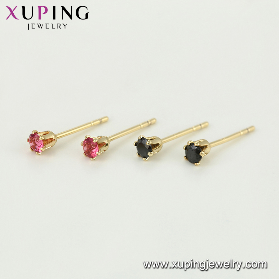 95847 xuping 3mm simple single stone fashion earing studs, stud earrings set pairs