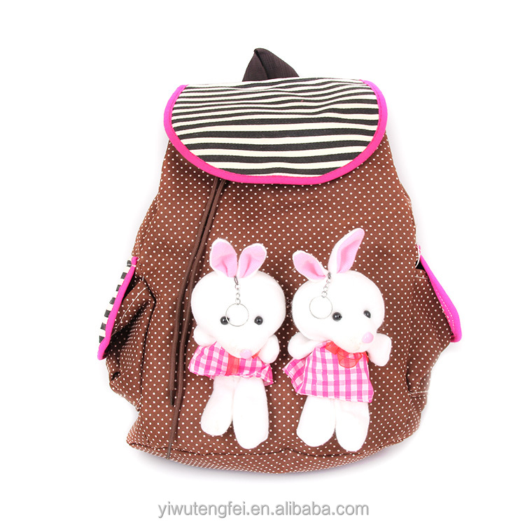 2015 wholesale hot-selling cotton fabric rabbit children school bag school bag backpack
