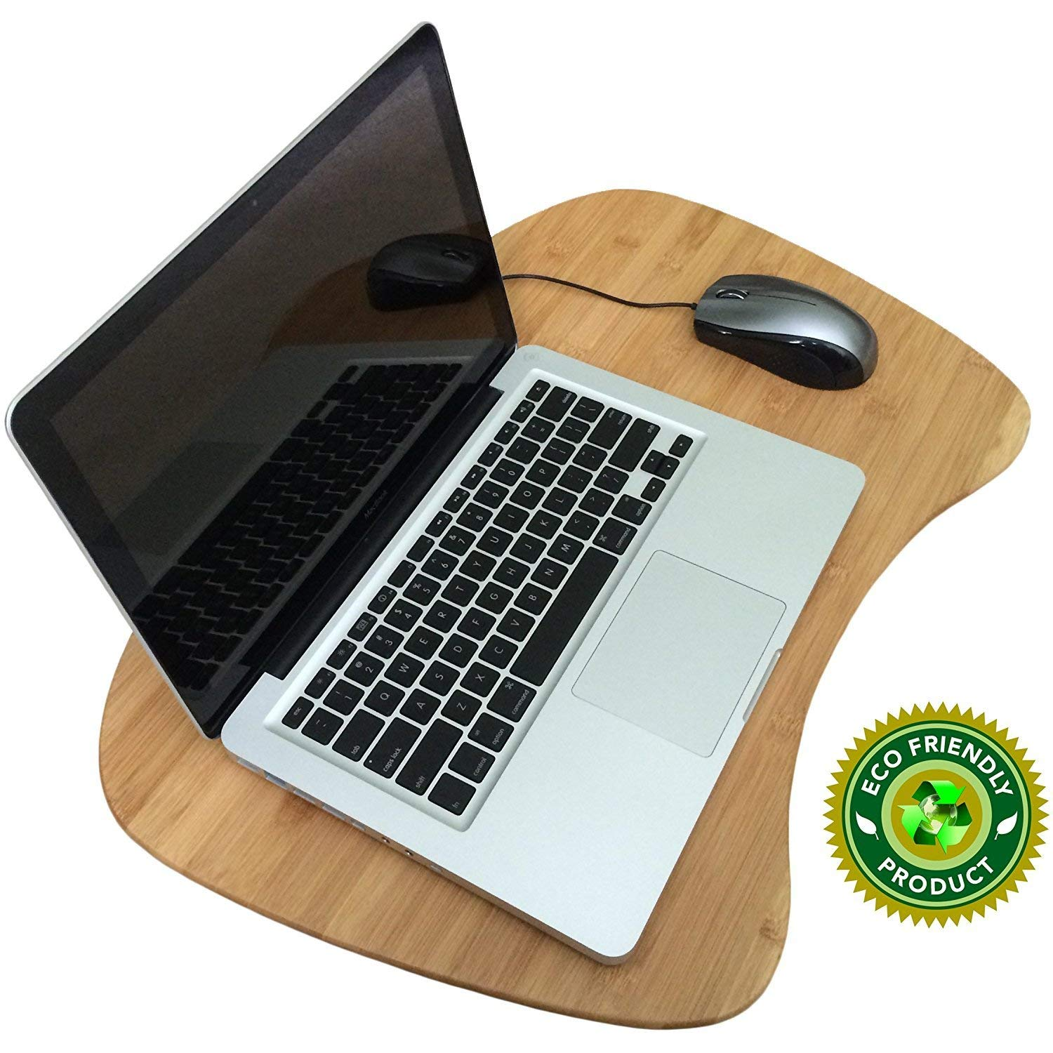 Bamboo Lap Desk for Laptop, Large Portable Laptop Desk Tray with Cushion Pilliow and Handle, Suitable as LapDesk Stand, Bed Tray, Book Stand, Writing Table - Pezin & Hulin