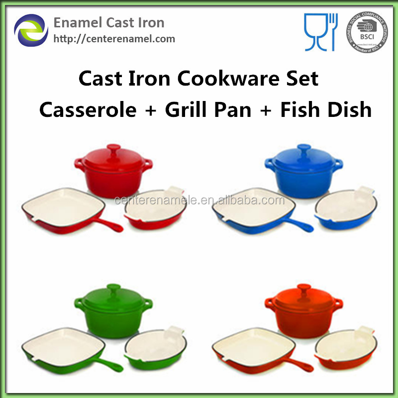 Enamel cast iron kitchen cookware set