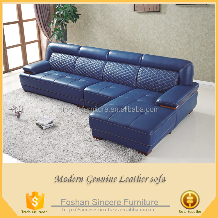 Modern navy blue chesterfield leather sofa with corner chaise