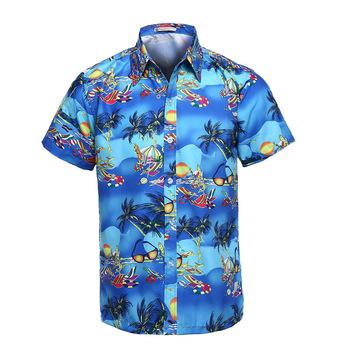 Elegante Hombres Verano Camisa Masculina Playa Palma Hombre Corta Camisas Hawaianas Manga Tropical Los De Fiesta Camisetas dxsQCohrtB