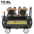 AC brushless multi head oilless silent portable pneumatic 3000W Industrial air compressor for jackhammer spray painting 50L tank