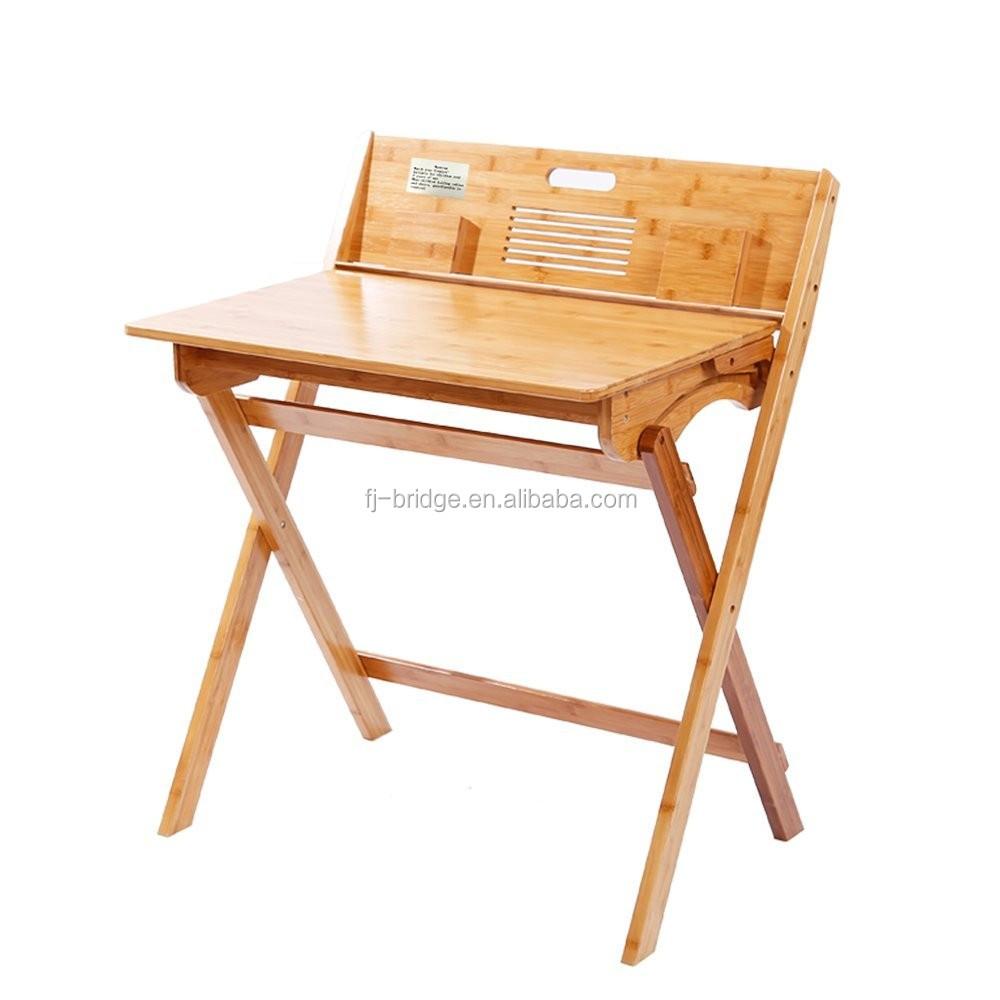 Bambú Mesa Plegable Mesa De Estudio Con Caja De Almacenamiento Y 4 ...
