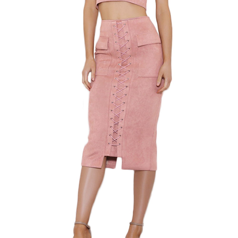Lace up front back slit faux suede midi skirt