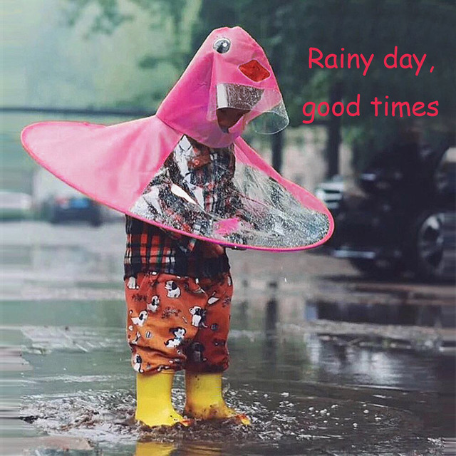 Foldable Cartoon Duck Kids Raincoat Umbrella UFO Shape Waterproof Rain Hats Caps