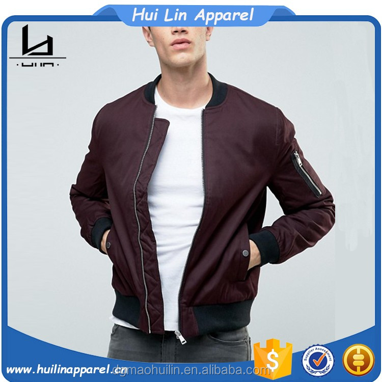 Baseball collar zip sleeve burgundy bomber men jacket