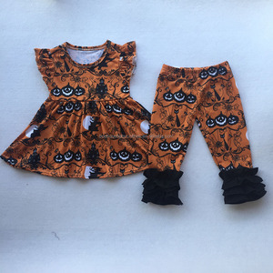 Cute Children girls' Clothing Sets Boutique Sleeveless Holiday Baby 2 Piece Set Autumn Outfits
