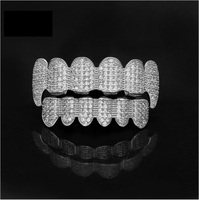 High Quality Iced Out CZ Grillz 18K Gold Plated Silver Teeth Grillz Set