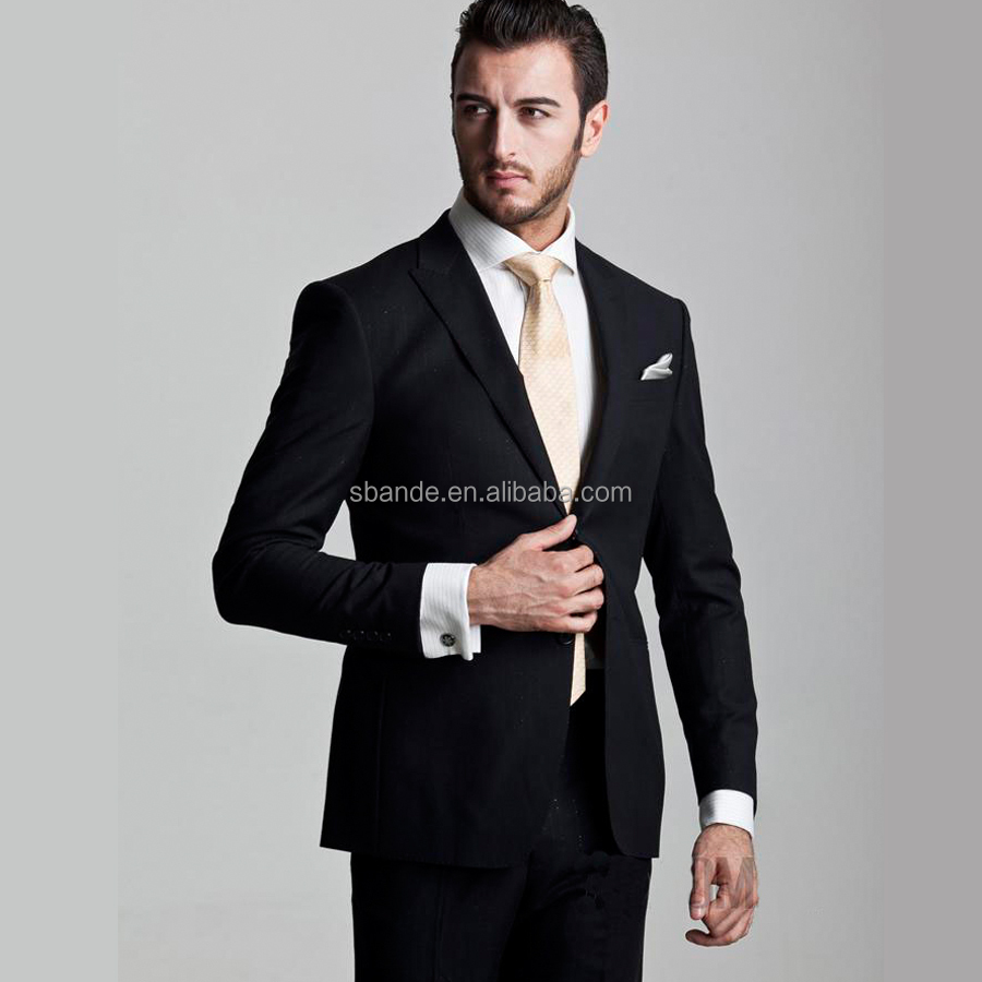 Latest design custom made black wool coat pant men suits