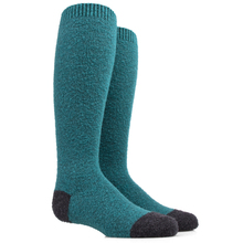 Boys Winter Ski Sock Solid Green Pure Wool Knee High Cozy Socks