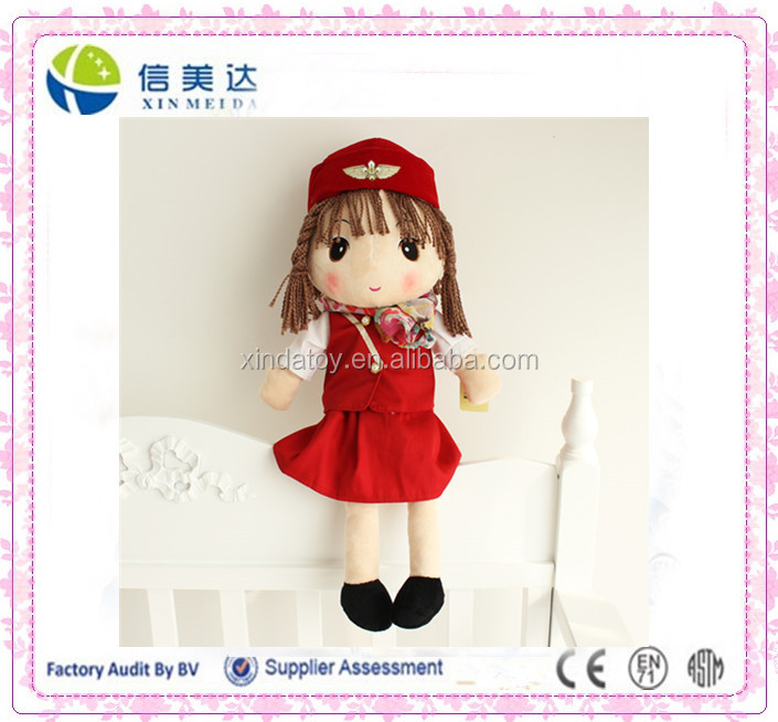 Exquisite custom airline stewardess soft plush doll toy
