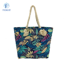 Printed Reusable Canvas Handle Beach Bag with Rope Handle for Women