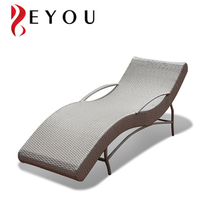 Poly sun lounger rattan chaise lounge outdoor daybed with side table