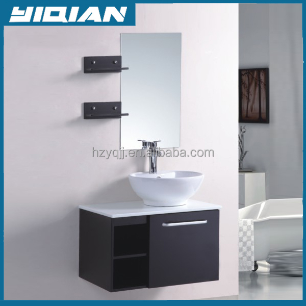 Solid wood furniture Undercounter bathroom cabinet with mirror storage rack
