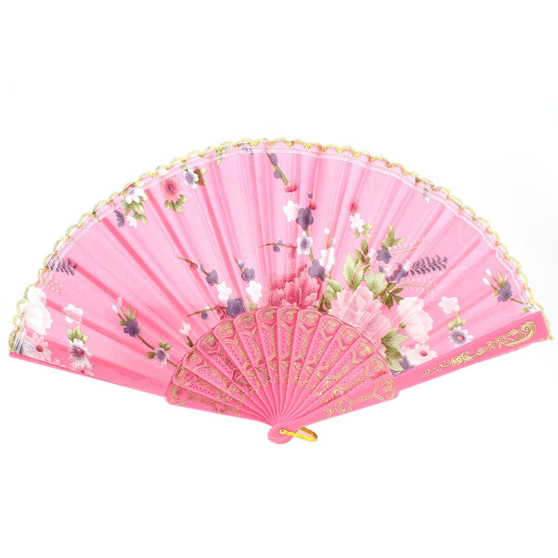 uxcell Plastic Ribs Polyester Flower Printed Lace Decor Hand Fan Pink
