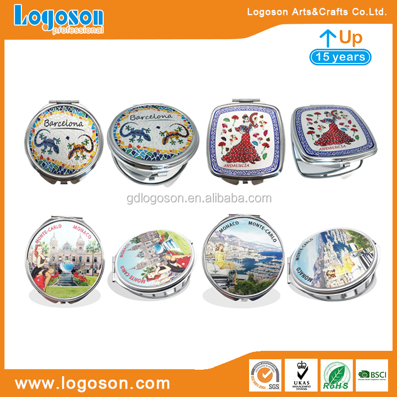 Mirror Factory Personalized Travelling Gifts Custom Logo Metal Makeup Mirror Round Portable Foldable Mirrors