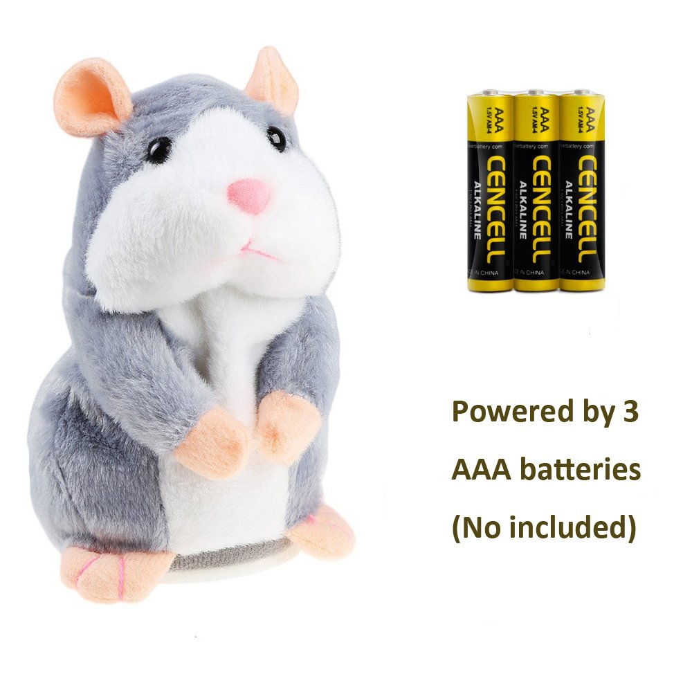 Talking Hamster Repeats What You Say Plush Interactive Toy, Talking Record Mimics Plush Animal Toy Electronic Pet Buddy Hamster Gift for Kids Children Christmas (Grey, Talking Hamster)