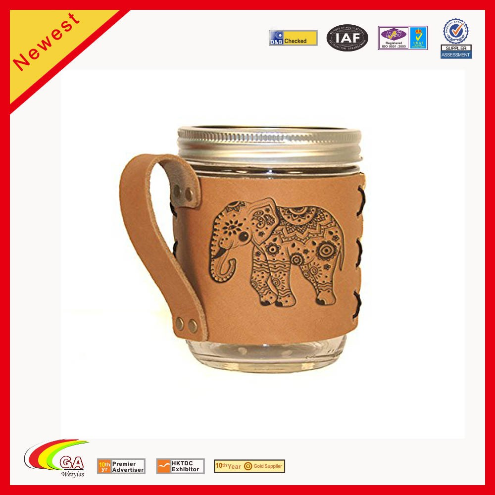 New Design Handmade Leather Cup Case For Leather Cup Sleeve