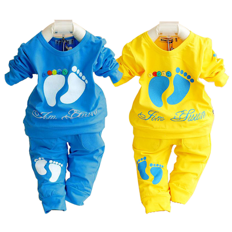 2015 spring autumn baby clothing set 100% cotton newborn baby clothes high quality girl boy shirt+pants children sets wholesale
