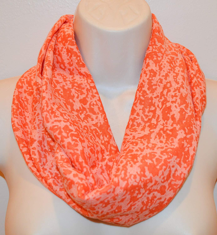 orange printed infinity scarf, orange loop, women/girl infinity scarf, spring scarf, summer scarf, fall scarf