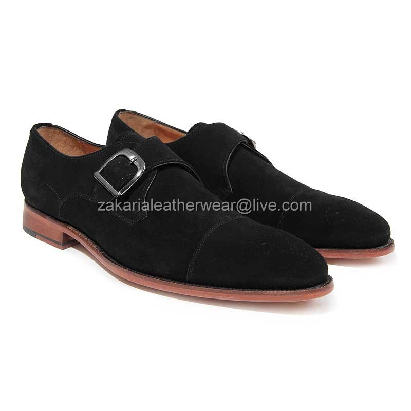 Handcrafted Stylish Strap Monk Shoes Dress Leather Men wxwqg