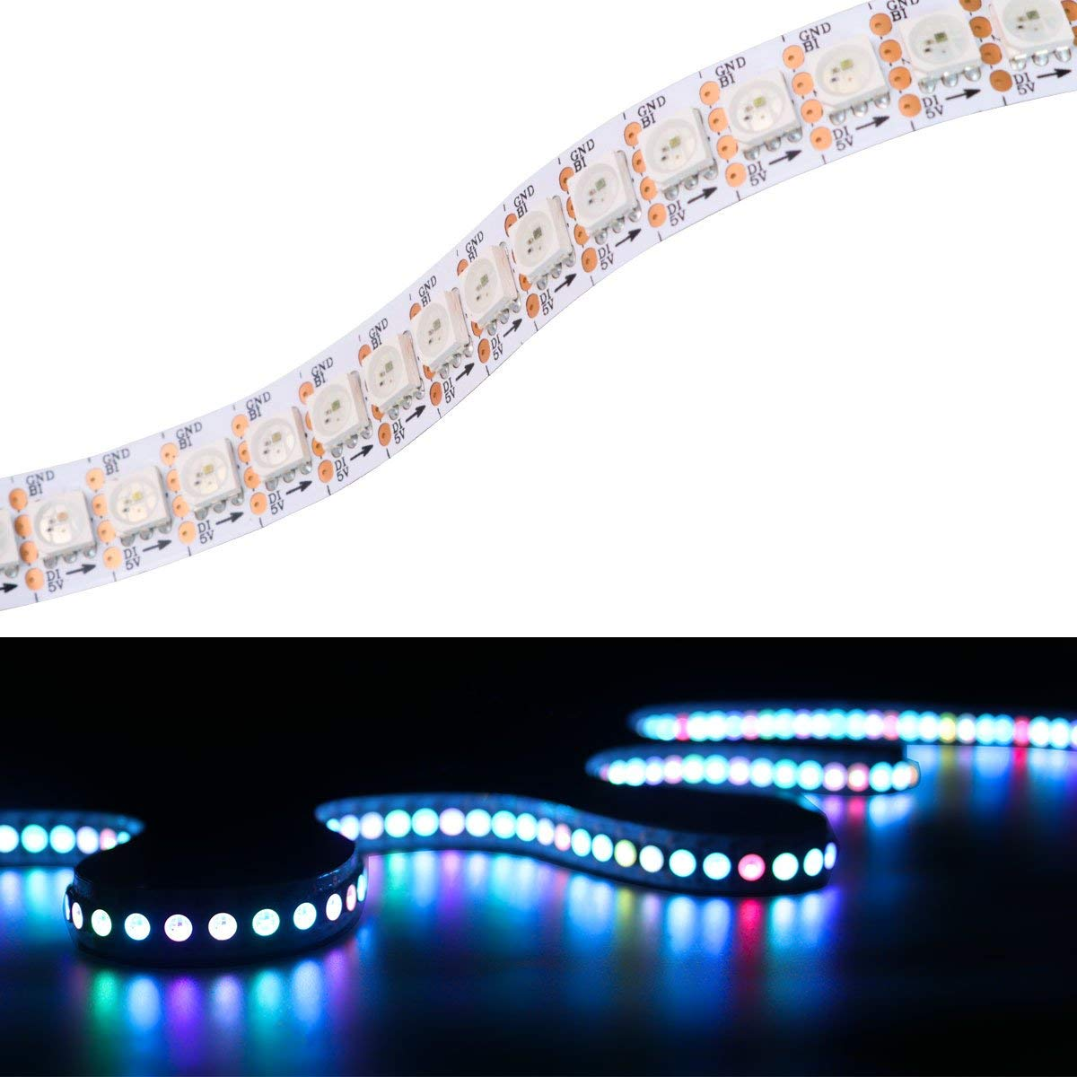 Mokungit WS2813 LED Strip WS2813(Upgraded WS2812B) Dual Signal Wires Individually Addressable Dream Color 5050 RGB Flexible Strip Light 3.2ft 144 LEDs White PCB Non-waterproof DC5V