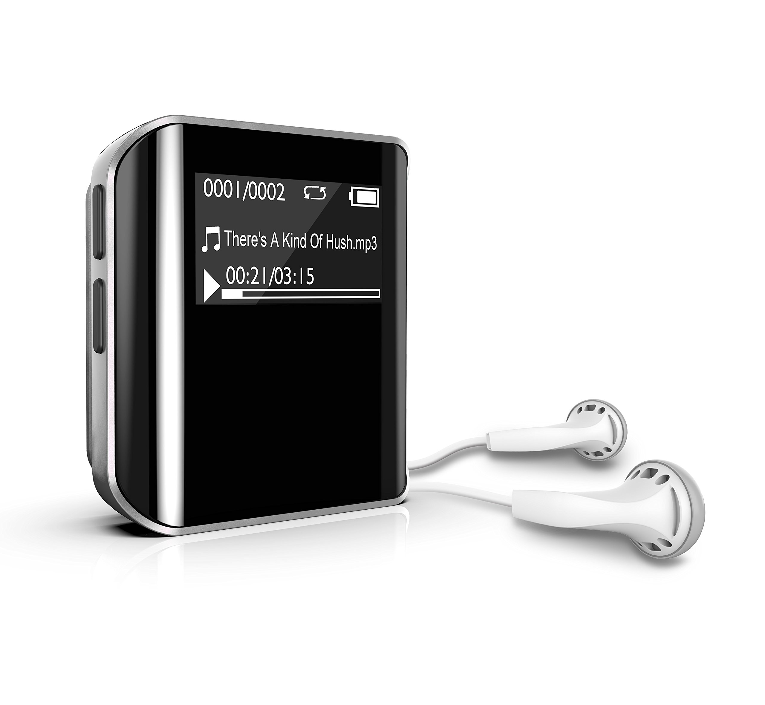 MP3 Music Player, Dansrue Mini Sport Clip Hi-Fi Sound Music Player with FM Radio Voice Recorder and E-Book, Built-in 8GB Memory, Sliver