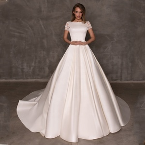 Wedding Dress With Pockets.Elegant Wedding Dresses With Pockets Satin Wedding Dress With Short Lace Sleeve A Line Bridal Gown 2019 Hot Sale