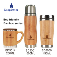 Wholesale reusable stainless steel bamboo vacuum sealed cup with lid