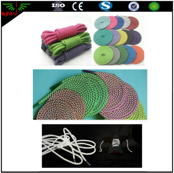 custom high light popular use 3m rope reflective round non elastic shoelaces