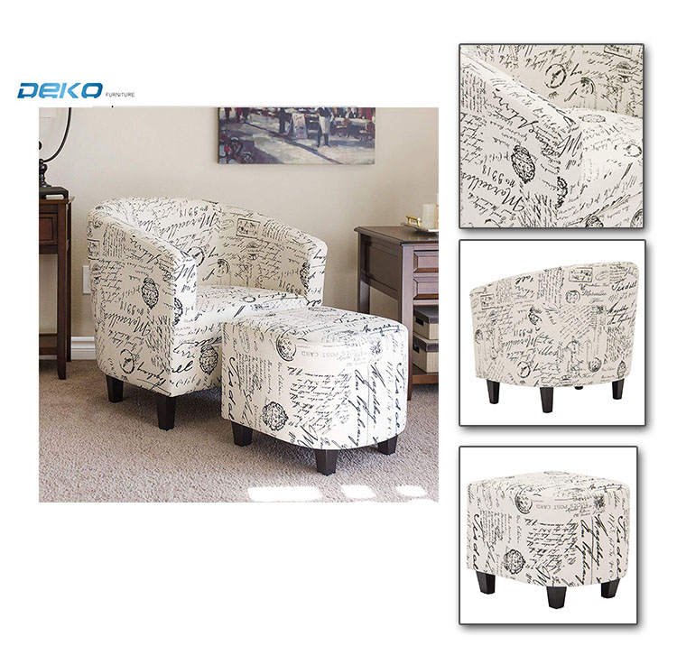 Amazon best selling Fabric armchar with footrest,  Tub chair with ottoman