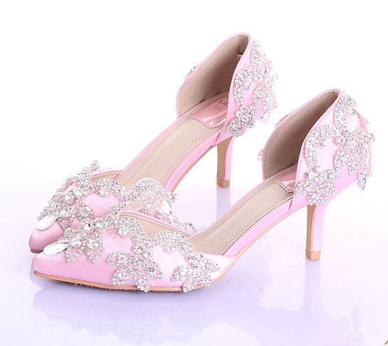Women Shoes Heels Pink Rhinestone  Wedding Shoes Bride Shoes 7CM 9CM  Heel Pumps women Stain Surface Slip On EU34 to 39