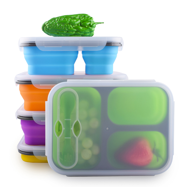 3 Compartment Bento Food Storage Containers BPA Free Airtight Lids Folding Kids Collapsible Silicone Lunch Boxes With Fork