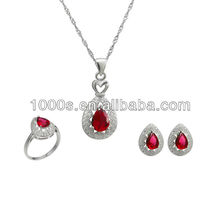 wholesale ruby stone 925 sterling silver crystal bridal jewelry sets