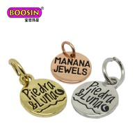 Custom logo charm manufacturer 18k gold metal engravable gold letter charms tag