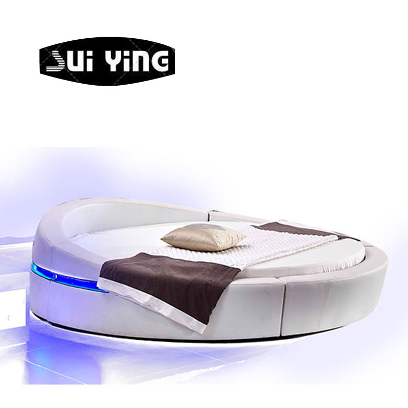 modern bedroom furniture design round bed with led light CY004